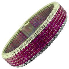 Invisibly Set French Cut Ruby Diamond Platinum Bracelet