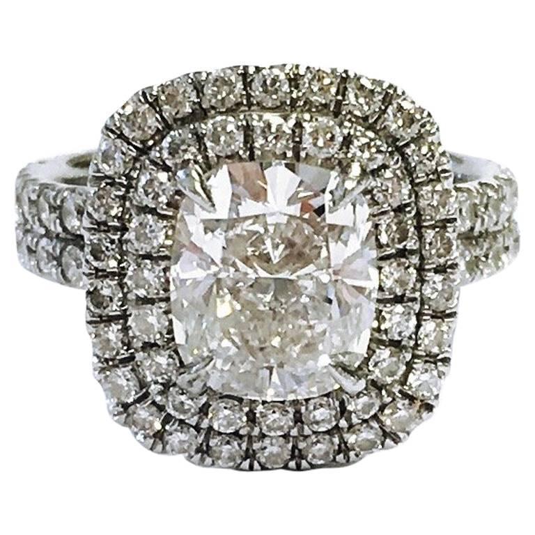 1 74 Carat Cushion Cut Halo Pave Diamond Platinum Engagement Ring at 1stdibs