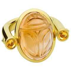 Colleen B. Rosenblat Citrine Sapphire Gold Scarab Ring