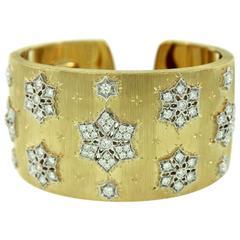 Mario Buccellati Iconic Diamond Gold Snowflake Cuff