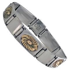 1950s Georg Jensen Sterling Gold Bracelet by Henry Pilstrup