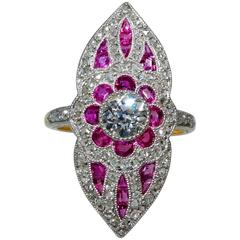 Antique Belle Époque French Ruby Diamond Gold Platinum Ring