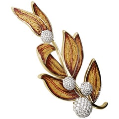 Stylish Brooch White Diamond and  Yellow Gold Hand Decorated with NanoMosaic