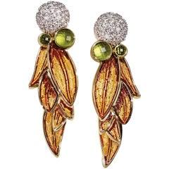 Sicis Lauro White Diamond Peridothe Yellow Gold Micromosaic Leaf Earrings
