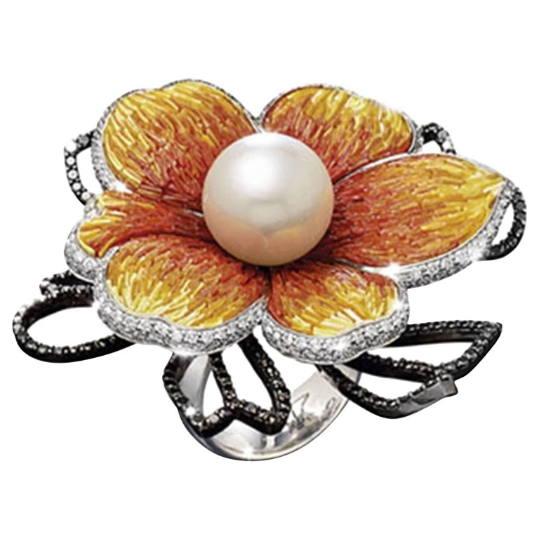 Sicis Printemps De L'Ocean Diamond Pearl Orange Gold Micromosaic Ring For Sale