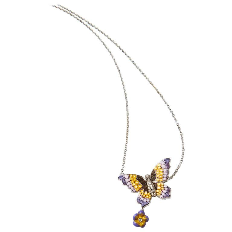 Sicis Purple Butterfly Diamond Gold Micromosaic Necklace