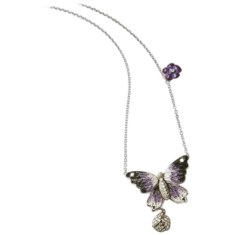 Sicis Violet Butterfly Diamond Gold Micromosaic Necklace