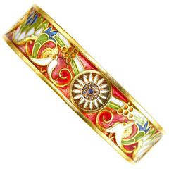 Masriera y Carreras Art Nouveau Plique a Jour Enamel 18K Gold Bangle Bracelet