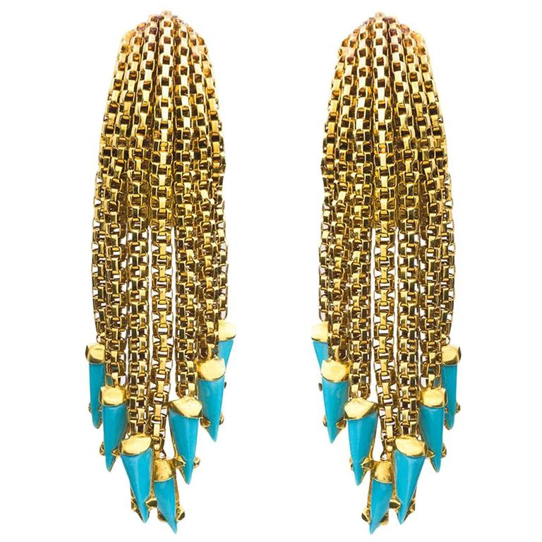 Turquoise and Gold Fringe Earpendants For Sale
