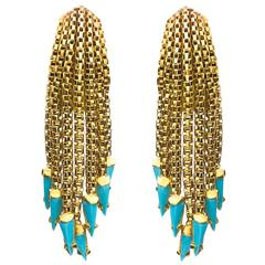 Turquoise and Gold Fringe Earpendants
