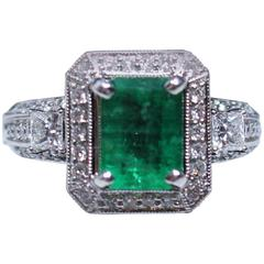 1.92 Carat Emerald Diamond Pave Gold Ring