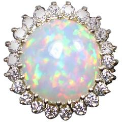 8.11 Carat Opal Round Cut Diamond Gold Ring