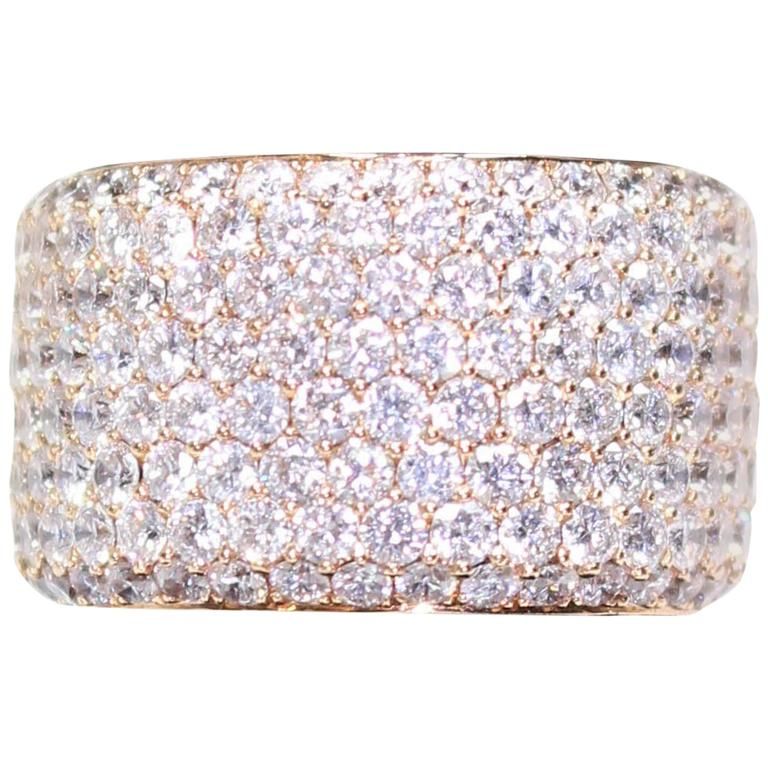 Gorgeous 7.59 Carat Diamond Pave Rose Gold Eternity Ring