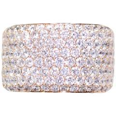 Gorgeous 7.59 Carat Diamond Pave Rose Gold Eternity Ring