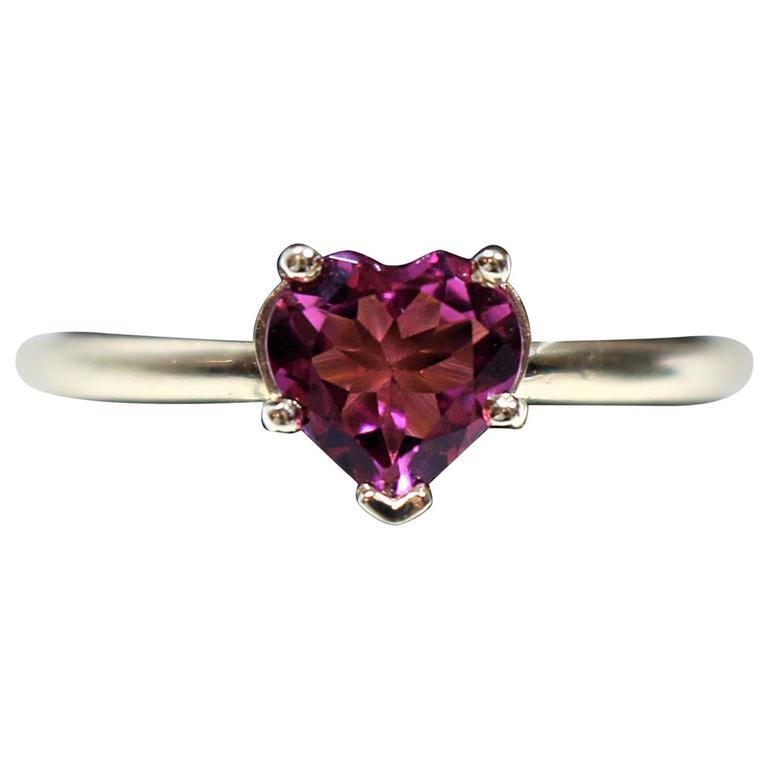 Classic Pink Tourmaline Gold Heart Ring
