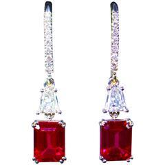 Stunning Ruby Trillion Diamond Pave Drop Gold Earrings