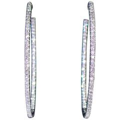 3.11 Carat Diamond Gold Hoop Earrings