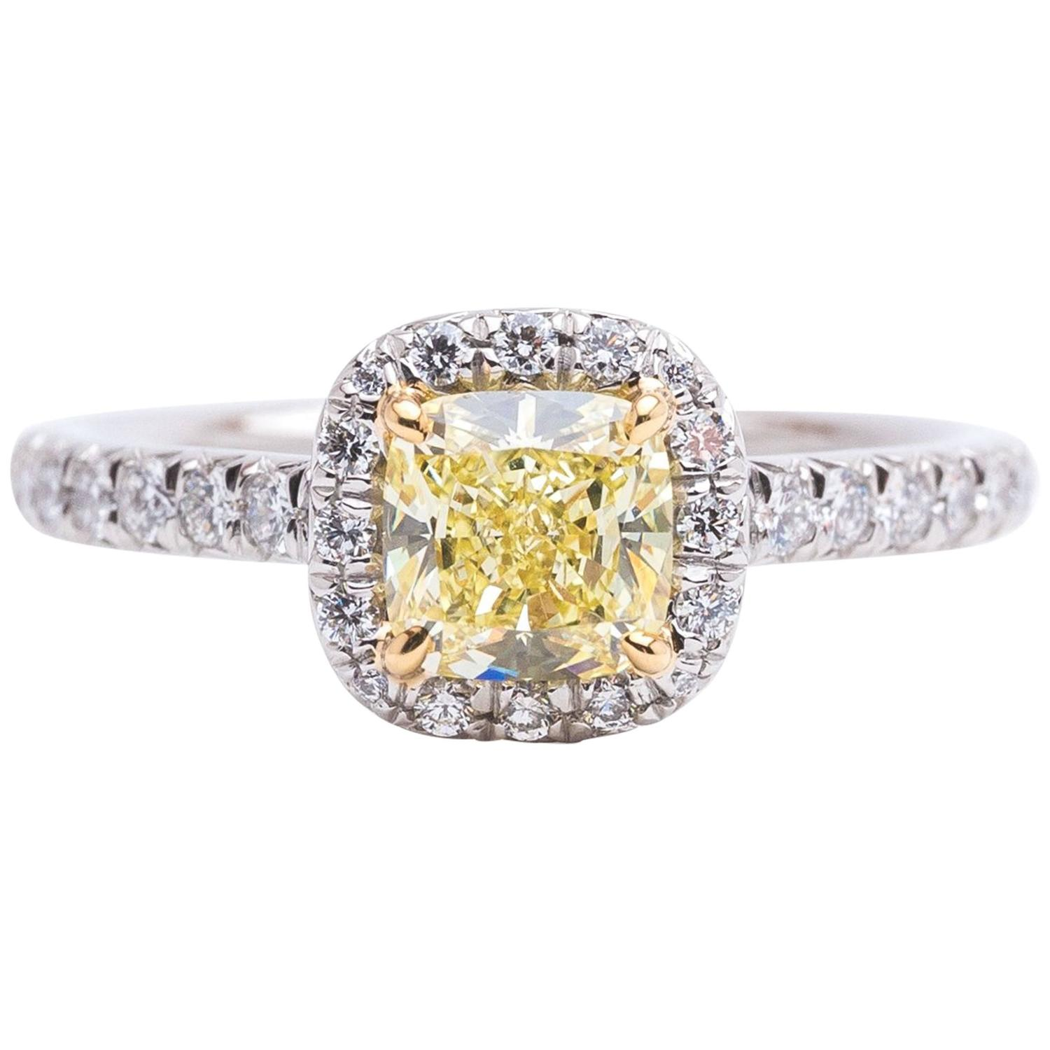 Tiffany and Co Fancy Yellow Diamond Soleste Engagement Ring at