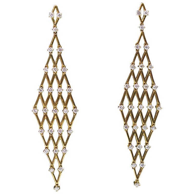 Yellow Gold and Diamond Mesh Dangle Earrings
