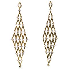 Yellow Gold and Diamond Mesh Dangle Earrings