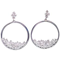 1.67 Carats Diamonds Cluster White Gold Dangle Hoop Earrings