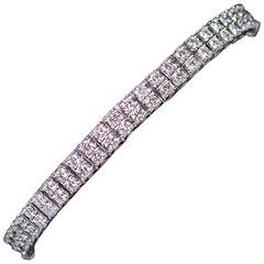 White Gold Double Layer Tennis Bracelet 7.84 Carat
