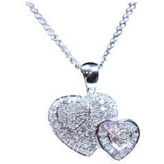 Double Heart Pendant Diamond Gold Necklace