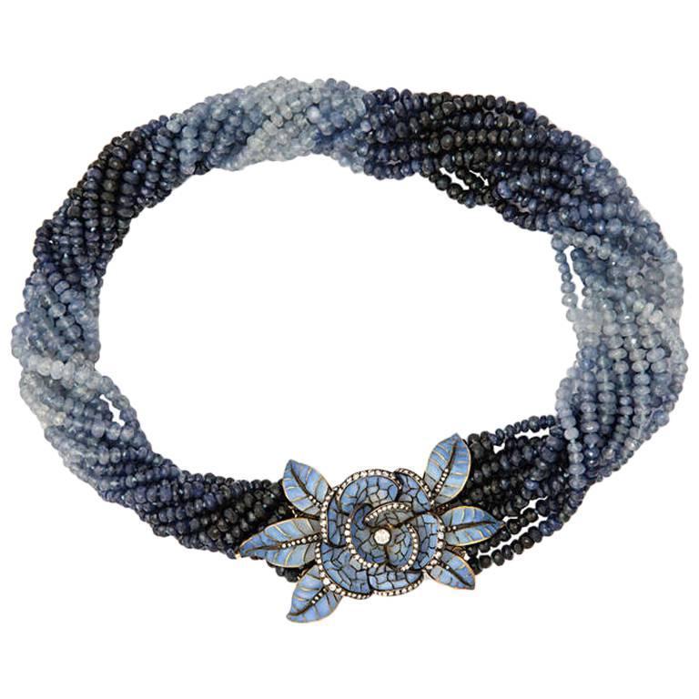 Spectacular.Plique-a-Jour Sapphire Bead Flower Clasp Necklace