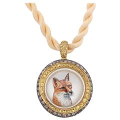 Reverse Painted Fox Crystal Pendant
