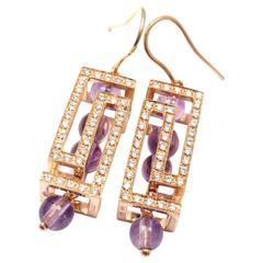 Versace Fedra Diamond Amethyst Rose Gold Earrings