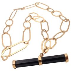 Pomellato Victoria Jet Toggle Bar Long Rose Gold Necklace