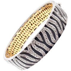 Roberto Coin Diamond Zebra Two Color Gold Bangle Bracelet