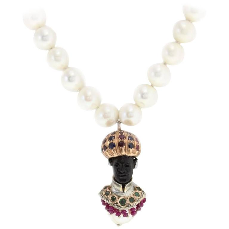 Venetian Moretti Beaded Necklace Rose Gold and Silver Pendant