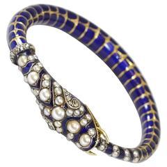 Antique Victorian Enamel Diamond gold Snake Bangle Bracelet