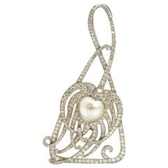 Antique Tiffany & Co. Peacock Feather Pearl Diamond Platinum Pendant, circa 1905
