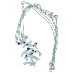 Modernist L.Van Giel Sapphire Diamond Gold Sculpture Necklace