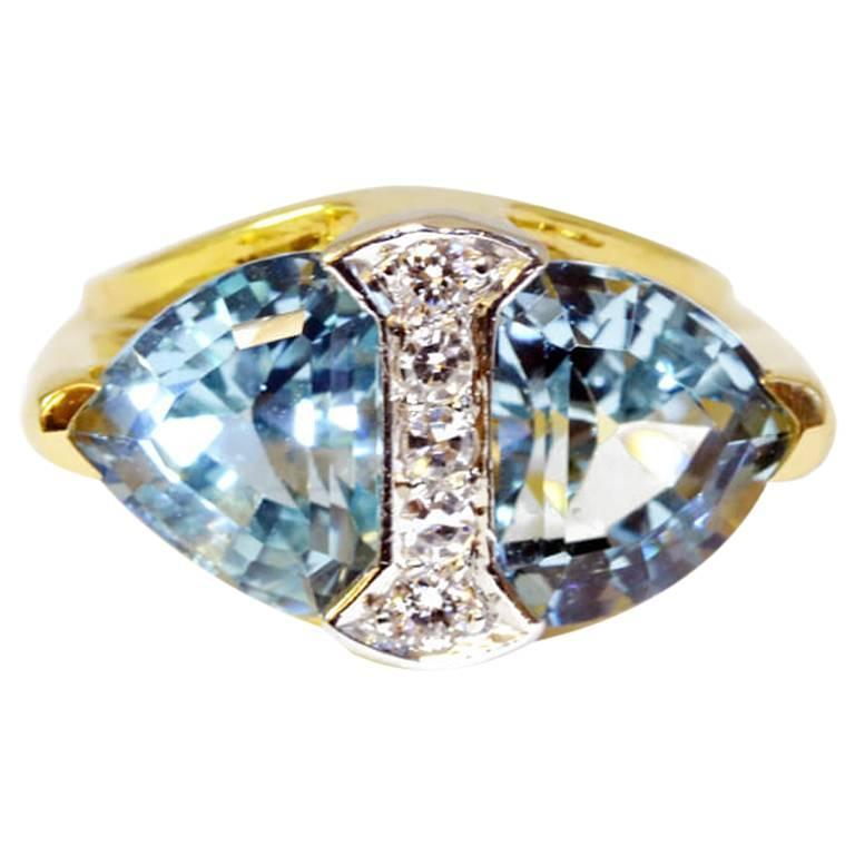 Retro Tiffany & Co. Aquamarine Diamond Gold Platinum Ring