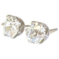 Old Cut Diamond platinum Stud Earrings