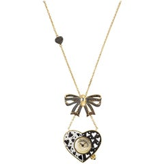 Sicis Heart Me Diamond Gold Micromosaic Watch Necklace
