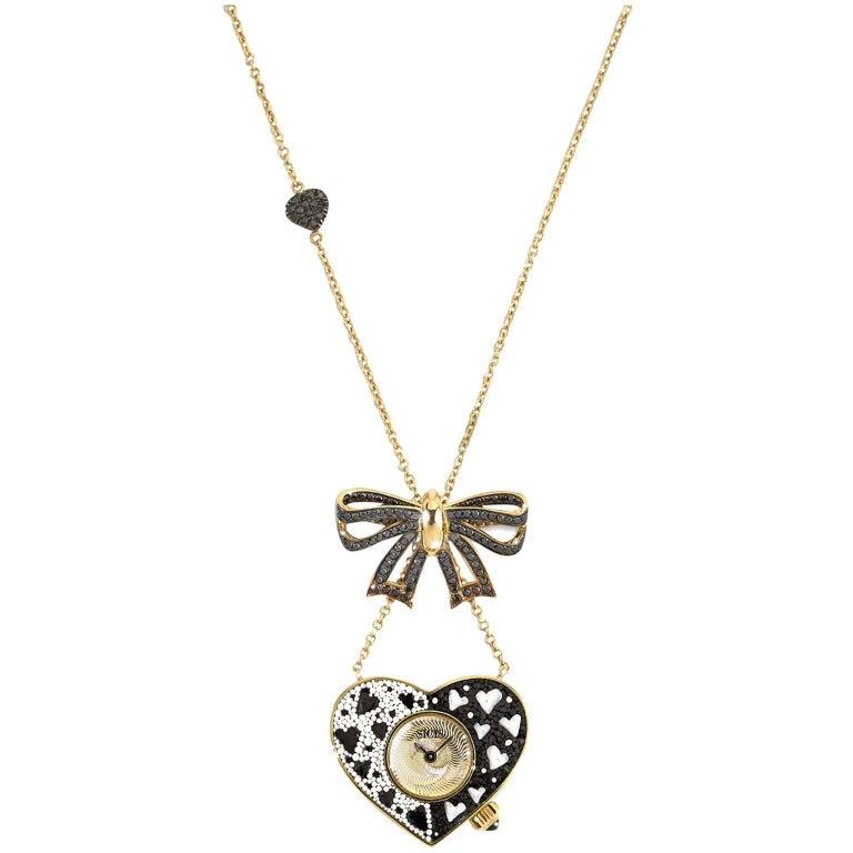 Stylish Quartz Watch Necklace White Gold Black Diamond Hand Decorate NanoMosaic For Sale