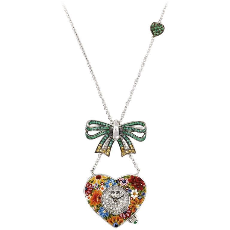 Sicis Heart Me Gold Diamonds Emerald Sapphire Micromosaic Quartz Watch Necklace  For Sale