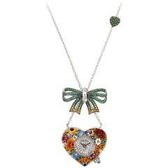 Quartz Watch Necklace White Gold White Diamond Sapphires Emeralds Micromosaic