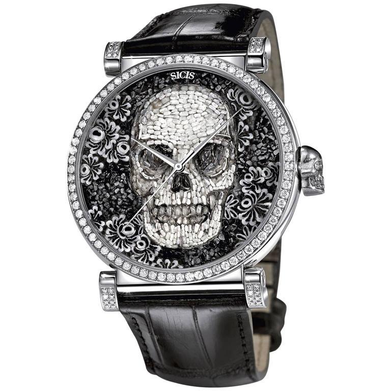 Sicis Opulentia Swiss White Diamond Skull Micromosaic Watch