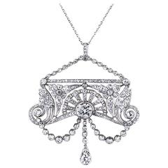 1910s Belle Époque Diamond Platinum Pendant
