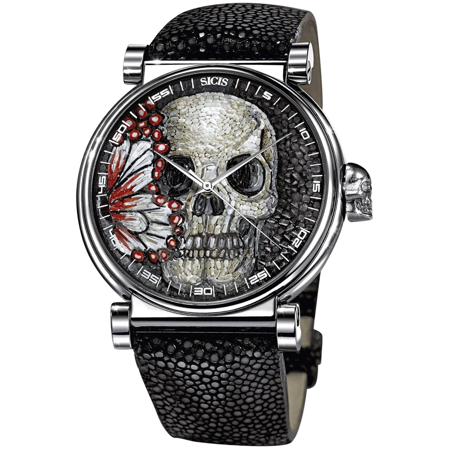 Stainless Steel Automatic Wristwatch Silver Galuchat Strap Decorated Micromosaic