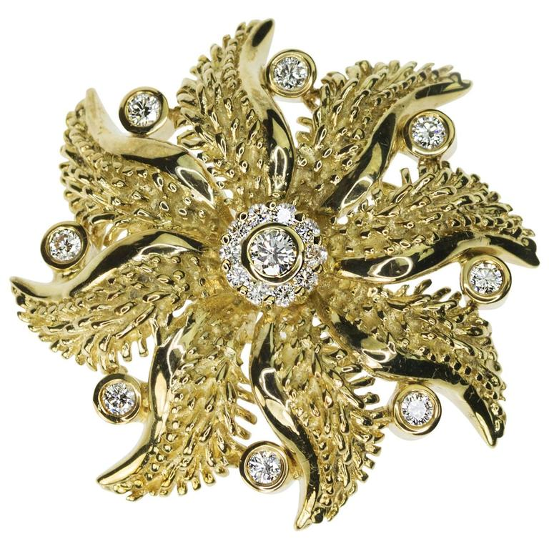 Diamond Gold Floral Brooch Necklace