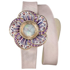 Sicis Ladies Gold Amethyst Diamond Mother-of-Pearl Micromosaic Quartz Wristwatch