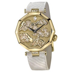 Stylish Wristwatch Gold Case White Diamond Hand decorated with Micromosaic
