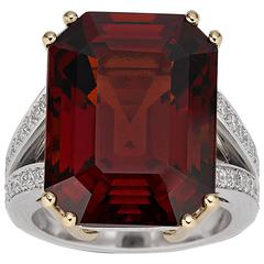 20.55 Carat Spessartite Garnet Gold Platinum Ring