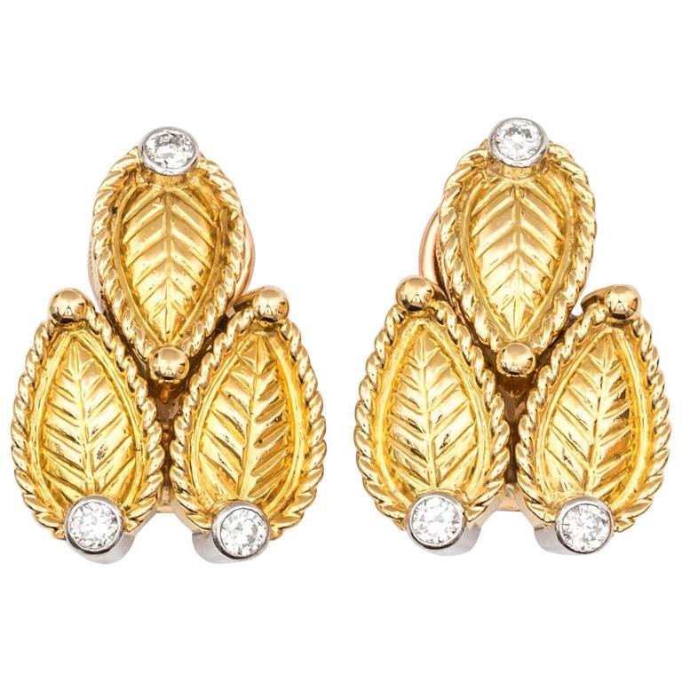 1980s Cartier Paris Diamonds Gold Clip-Back Earrings